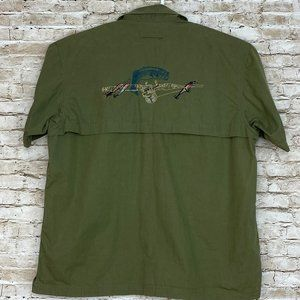 RedHead Button Front Shirt Embroidered Bass Fish L